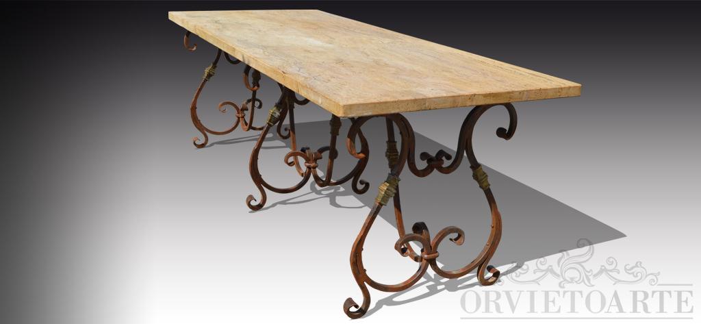 Orvieto arte tavolo con piano in travertino e base in - Tavolo ferro battuto ...