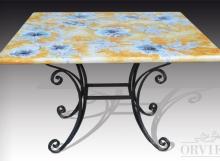 Tavolo in pietra lavica dipinto a mano a Deruta