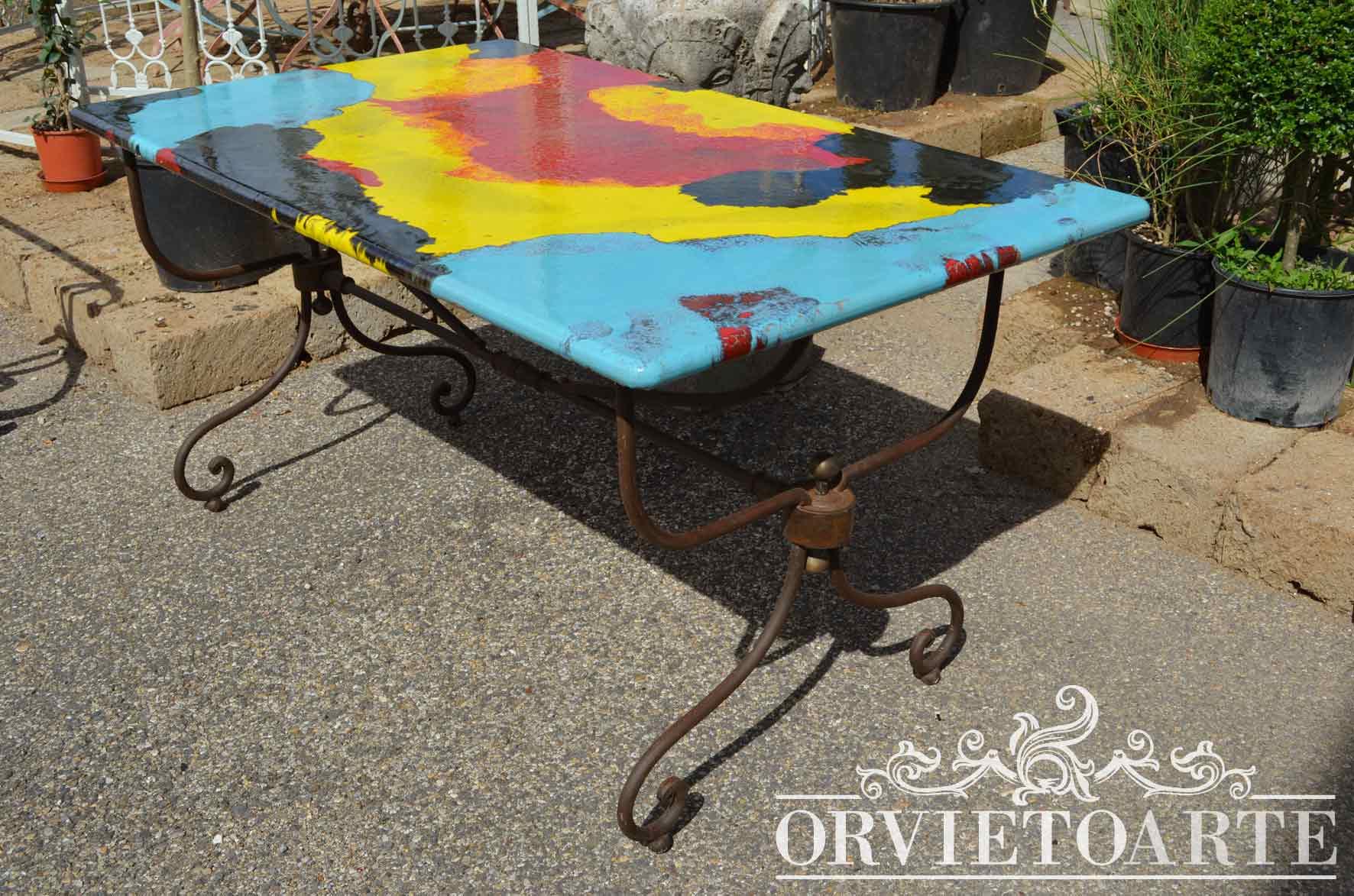 Orvieto Arte – Tavolo in pietra lavica dipinta a mano con motivi ...