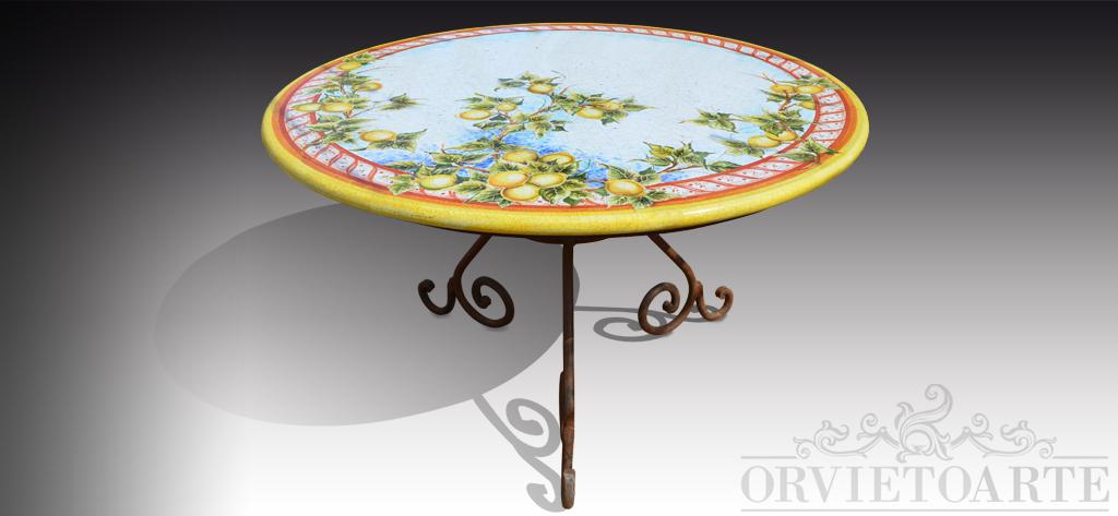 Orvieto arte tavolo con piano in pietra lavica dipinto a - Tavolo pietra lavica ...