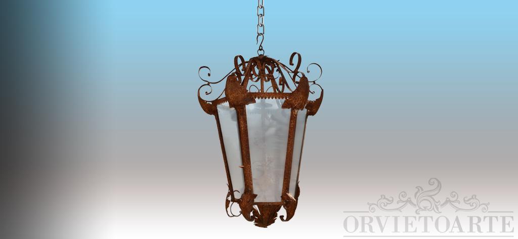orvieto arte lanterna in ferro battuto di vecchia fattura piccola. Black Bedroom Furniture Sets. Home Design Ideas