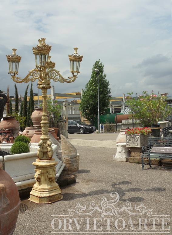 Orvieto arte lampione in ghisa da giardino - Lampioni in ferro battuto da esterno ...