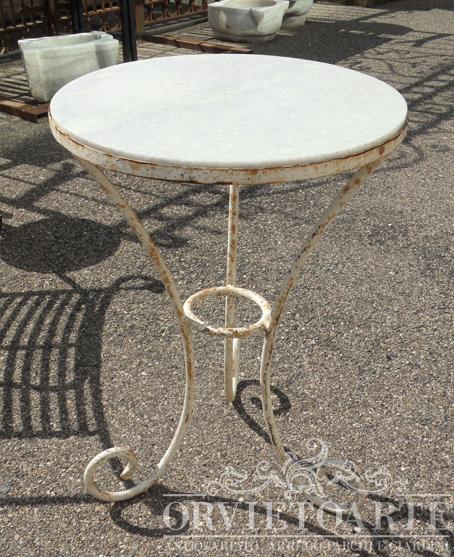 Orvieto Arte – Tavolino in ferro bianco e marmo