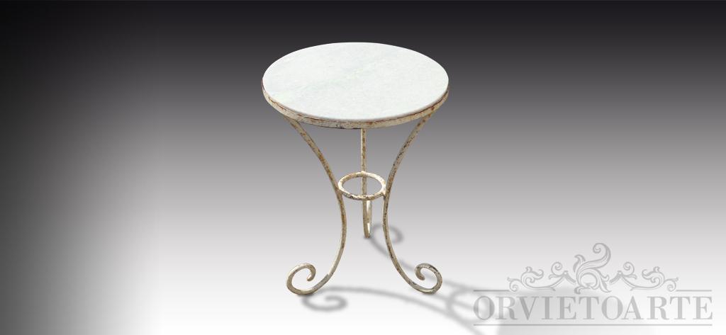 Orvieto arte tavolino in ferro bianco e marmo - Tavoli da giardino in marmo e ferro battuto prezzi ...
