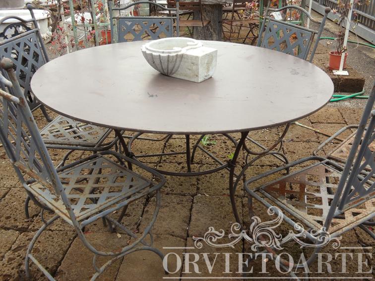 Orvieto arte tavolo rotondo in ferro battuto - Tavolo in ferro battuto da giardino ...