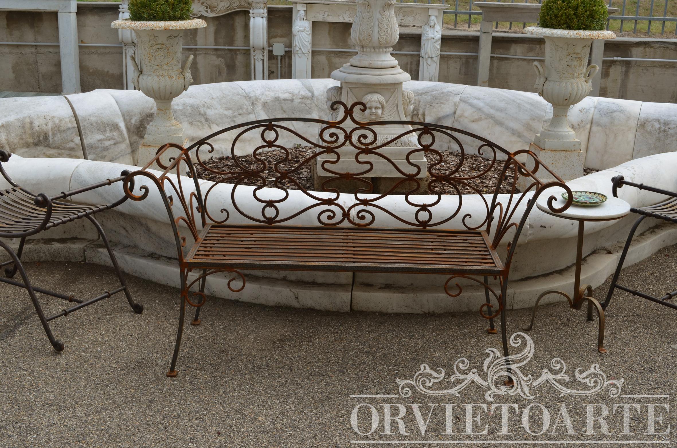 Orvieto arte panchina in ferro battuto for Arredo giardino in ferro
