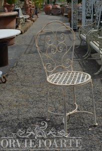 Sedia ferro con volute, arredo giardino, Orvieto, Umbria, Italia