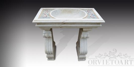 Lavabo in marmo con foro di scarico, finemente intarsiato con decori floreali e completo di basamenti decorati.
