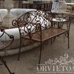 Panchina ferro battuto, Arredo giardino, Orvieto, Umbria, Italia