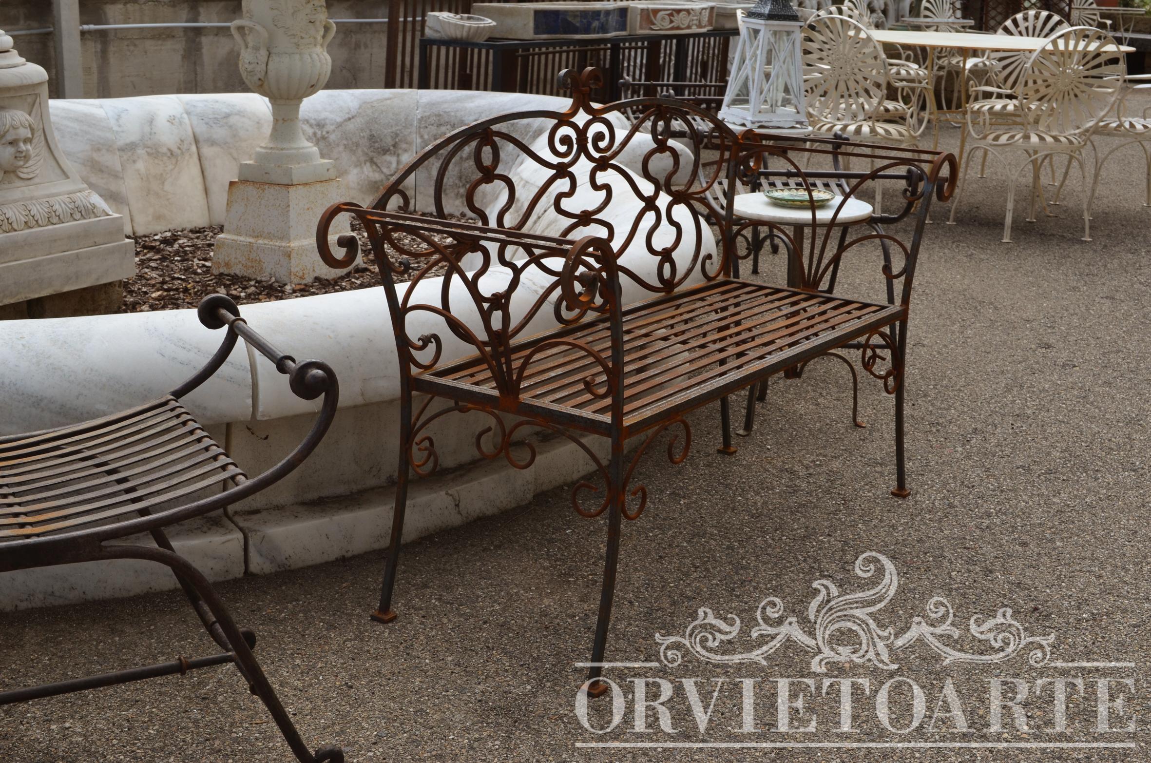 Orvieto arte panchina in ferro battuto for Arredo giardino ferro battuto