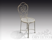 Sedia ferro con volute e seduta a reticolo, arredo giardino, Orvieto, Umbria, Italia