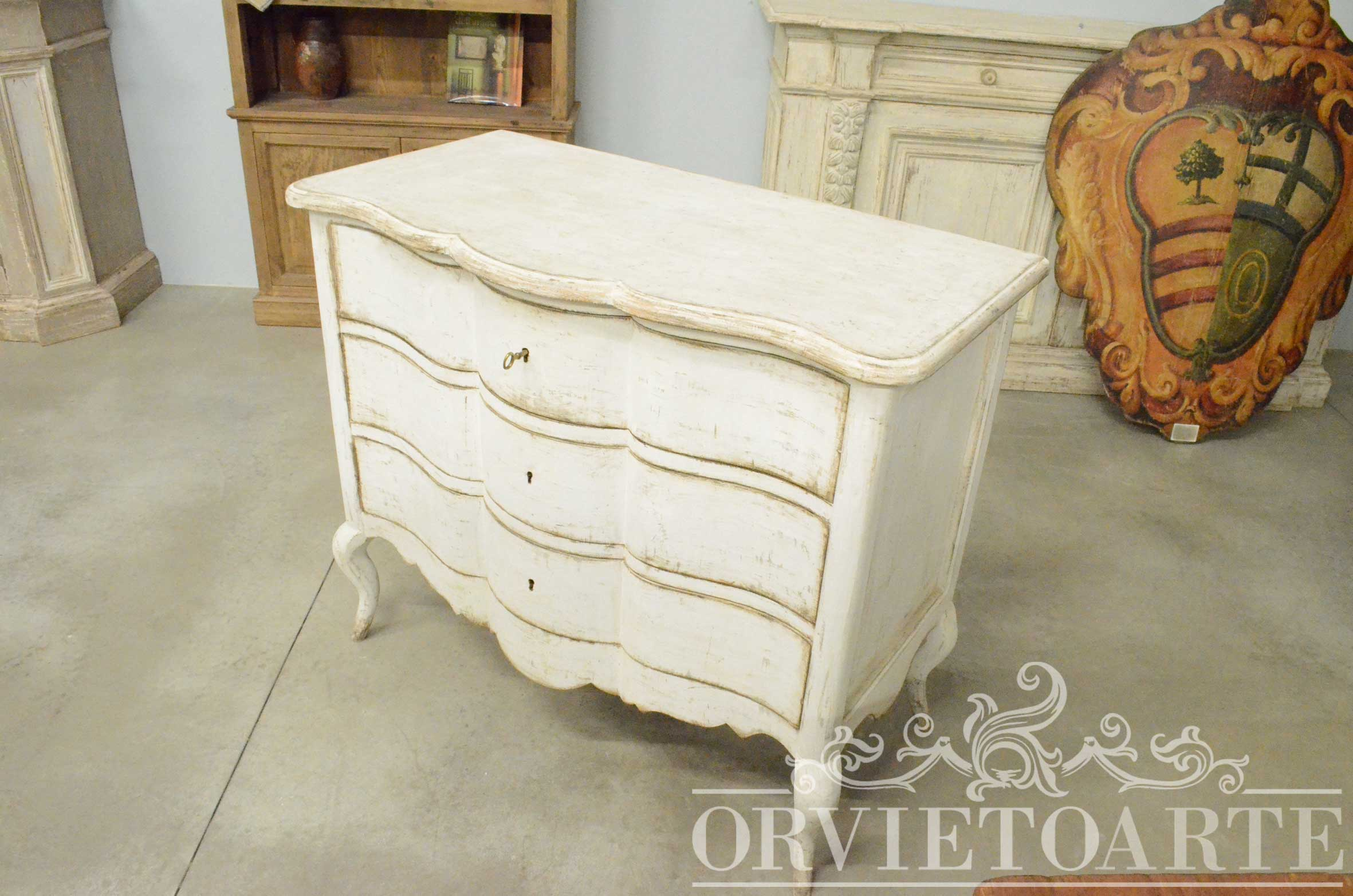 Orvieto arte com bianco decap stile shabby chic for Mobile vintage bianco
