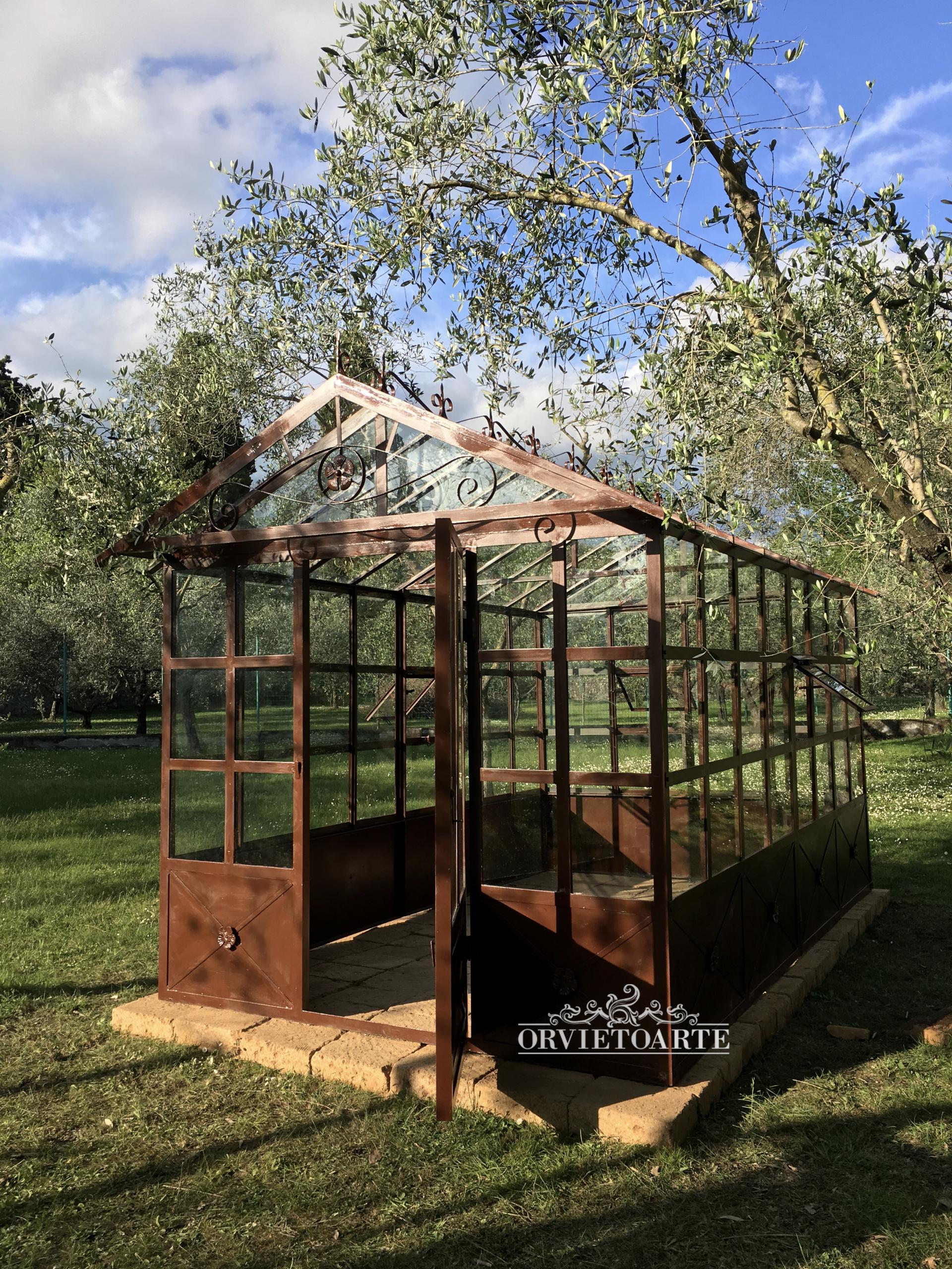 Serra dehor orangerie giardino d'inverno limonaia vetro ferro