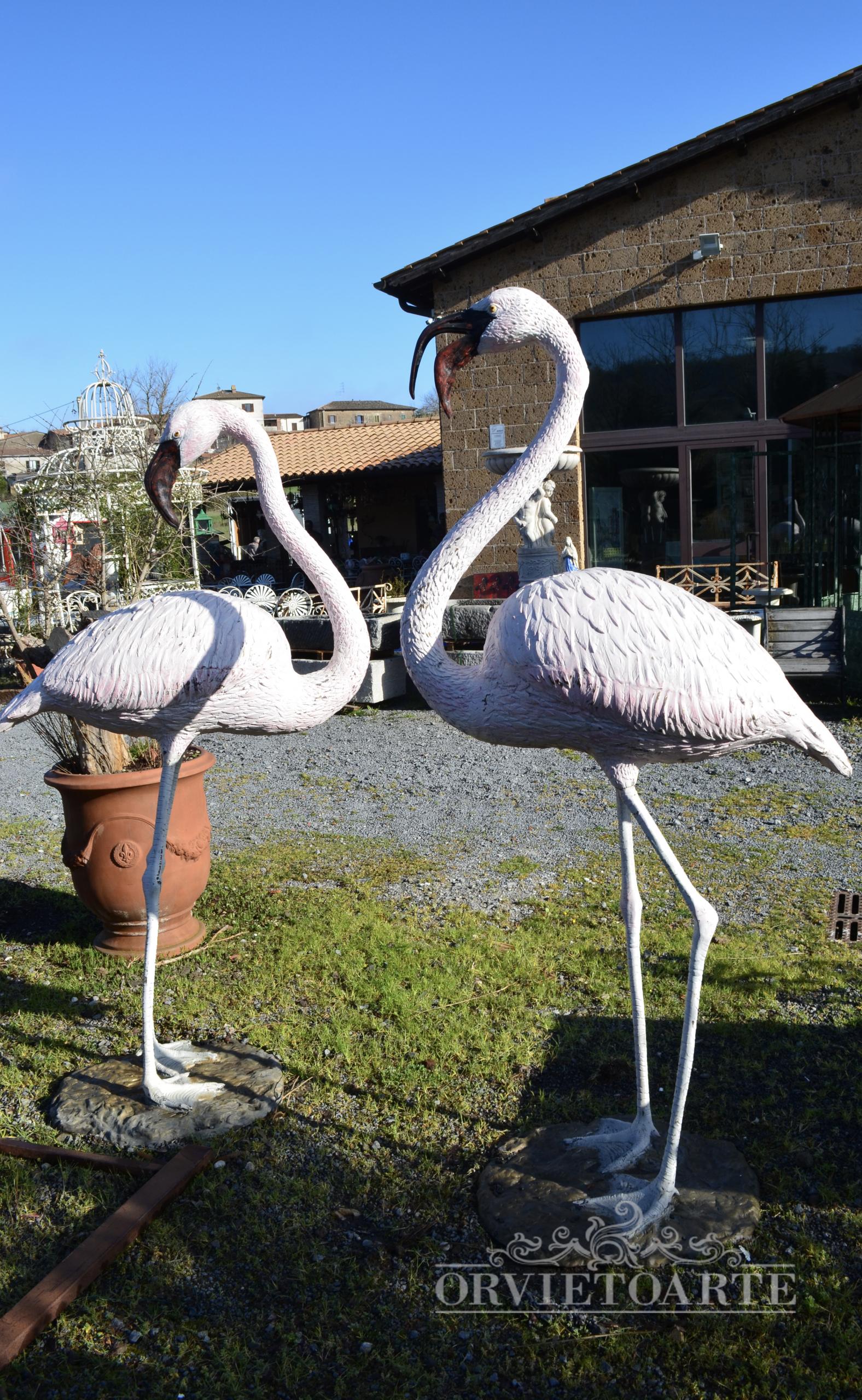 coppia di fenicotteri, flamingo, in bronzo