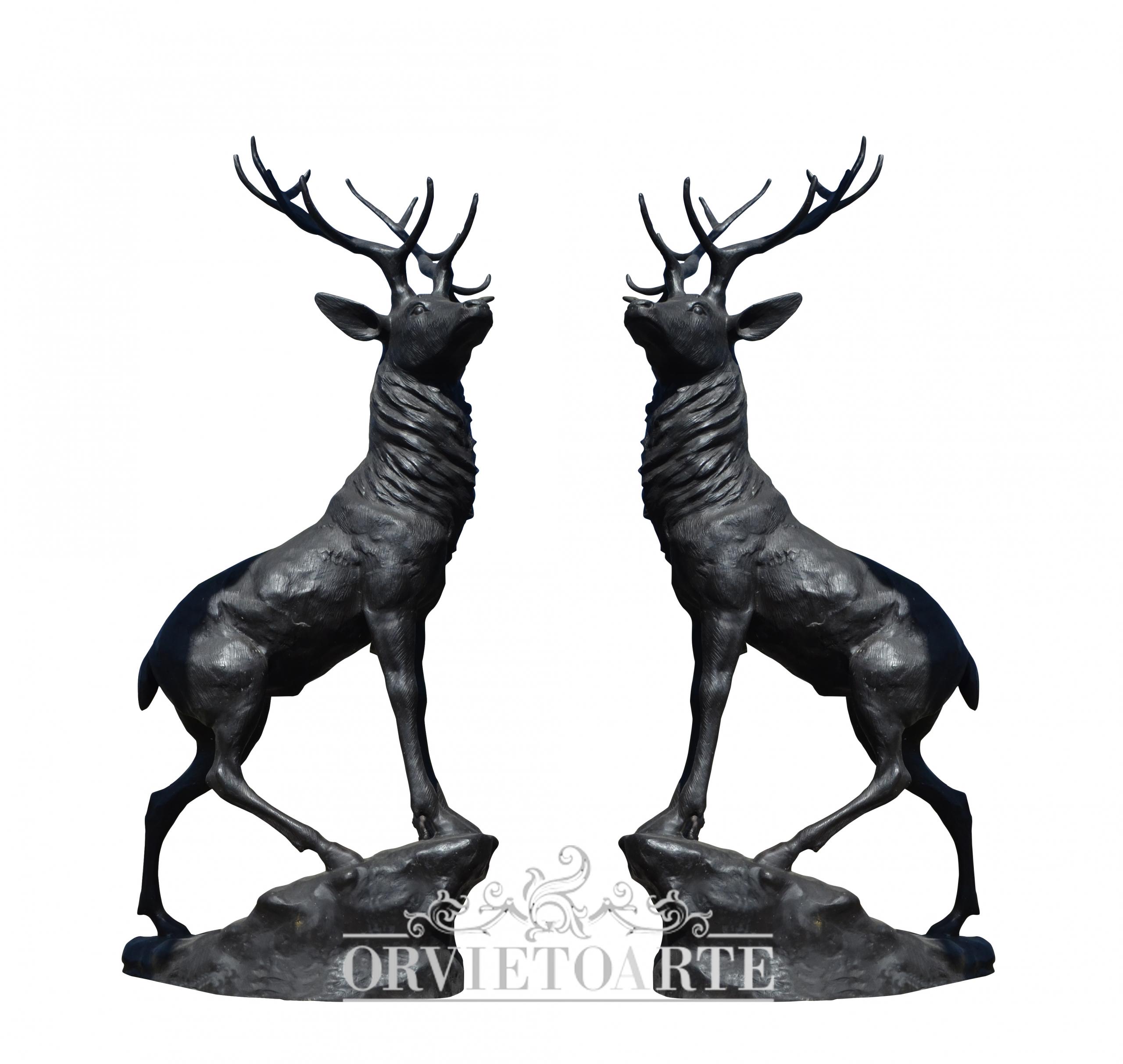 Coppia di cervi in bronzo, animalier, animals, animali, bronze, statue, black, nero, fratin, scultura, scultore, sculptor.